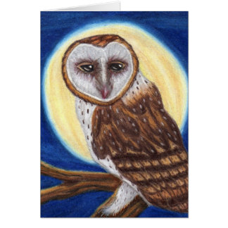 Brown Spotted Owl In Moonlight Card