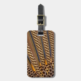 Brown spotted pheasant feather luggage tag
