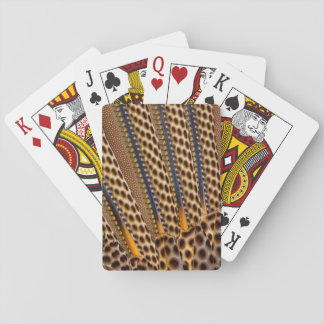 Brown spotted pheasant feather playing cards