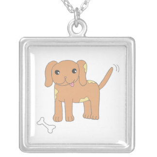 Brown Spotted Puppy Dog Square Pendant Necklace