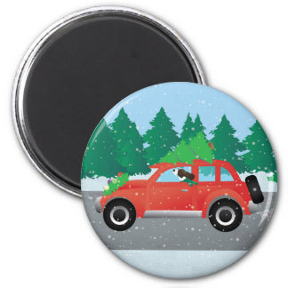 Brown Springer Spaniel Dog - Car with Tree on Top Magnet