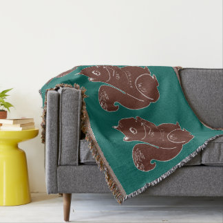 Brown Squirrels Green Throw Blanket