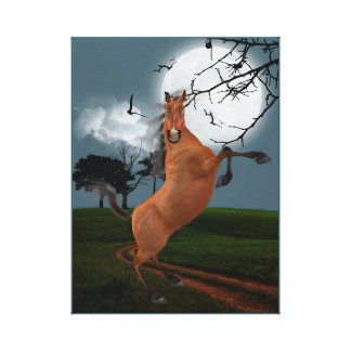 BROWN STALLION HORSE. FUN NORSE ILLUSTRATION CANVAS PRINT