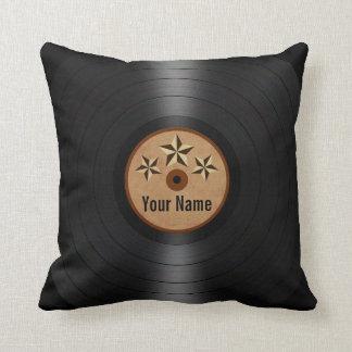 Brown Stars Personalized Vinyl Record Album Throw Pillow