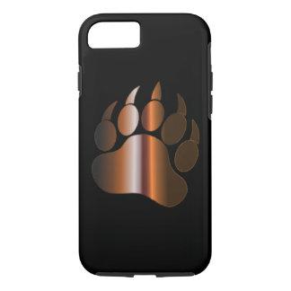 BROWN STEEL BEAR PAW ON BLACK iPhone 8/7 CASE