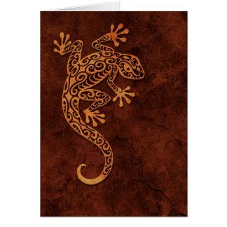 Brown Stone Climbing Gecko Greeting Card