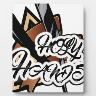 Brown straight razor graphic display plaques