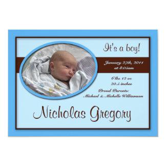 Brown Stripe Blue Birth Announcements