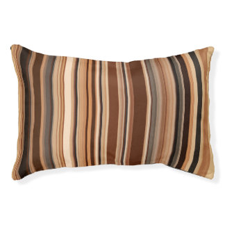 Brown Striped Pattern Pet Bed