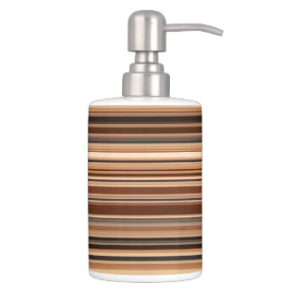 Brown Striped Pattern Soap Dispenser And Toothbrush Holder