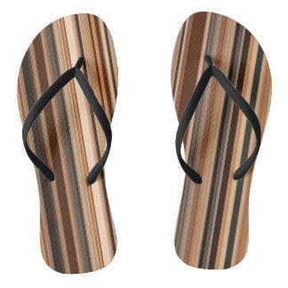 Brown Striped Pattern Thongs