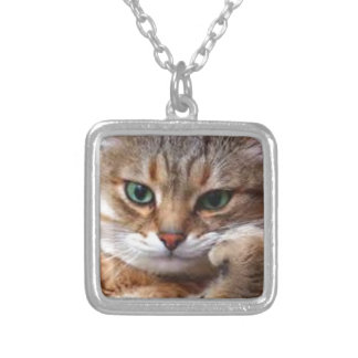 Brown Striped Tabby Cat, Thinking Kitty Pendant