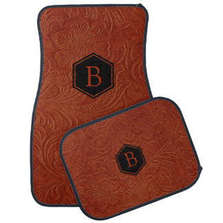 Brown Suede Leather Embossed Floral Pattern Car Mat