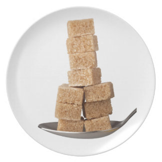 Brown sugar cubes plate