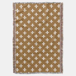 Brown Sugar Southern Cottage Fleur de Lys Throw Blanket