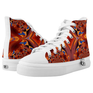 Brown Swirl Design Womens Shoes Printed Shoes