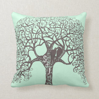 Brown Swirl Tree Love Bird-choose background color Throw Cushion