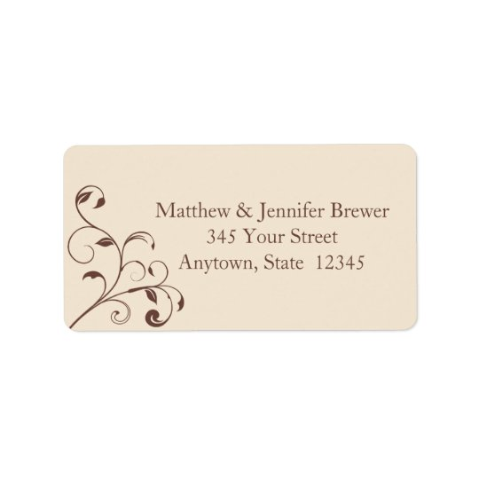 Brown Swirls and Curls Envelope Address Labels