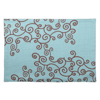 Brown Swirls and Teal Wavy Stripes Placemats