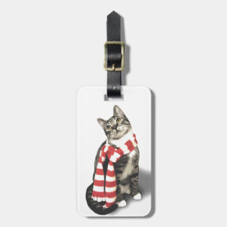 Brown Tabby Cat in a Red and White scarf Luggage Tag