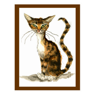 Brown tabby cat painting postcard