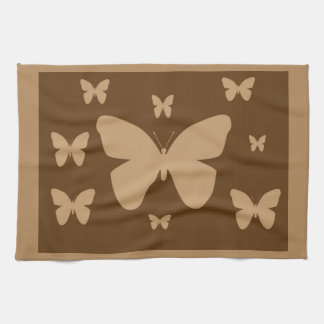 Brown Tan Butterflies Towel