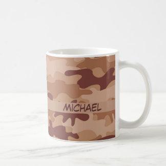 Brown Tan Camo Camouflage Name Personalised Coffee Mug