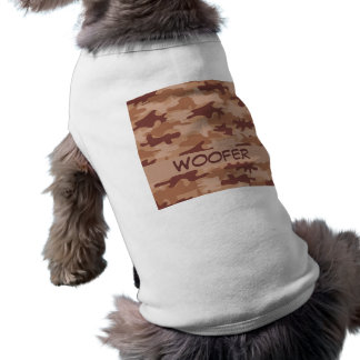 Brown Tan Camo Camouflage Name Personalised Sleeveless Dog Shirt