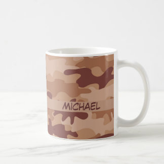 Brown Tan Camo Camouflage Name Personalized Coffee Mug