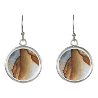 Brown Tan Cream Stone Image Drop Earrings