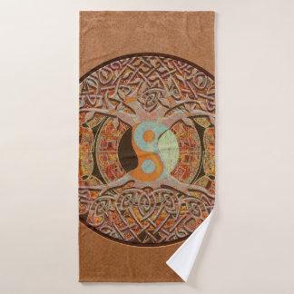 Brown Tan Tree of Life Mandala Bath Towel