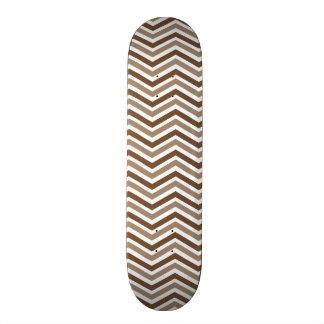 Brown Tan White Chevron Stripes Custom Skate Board