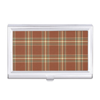 Brown Tartan Business Card Holder