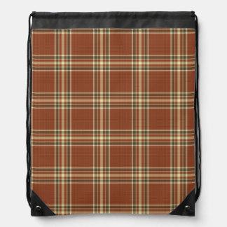 Brown Tartan Drawstring Backpack