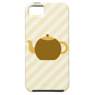 Brown Teapot Picture on Beige Stripes. iPhone 5 Covers
