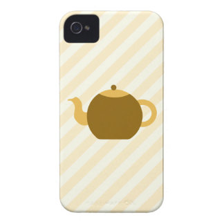 Brown Teapot Picture on Beige Stripes. iPhone 4 Case-Mate Cases