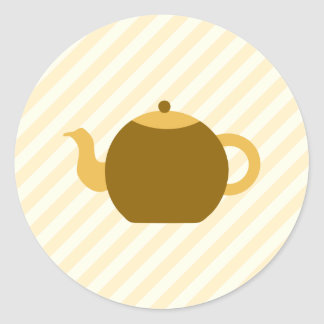 Brown Teapot Picture on Beige Stripes. Classic Round Sticker