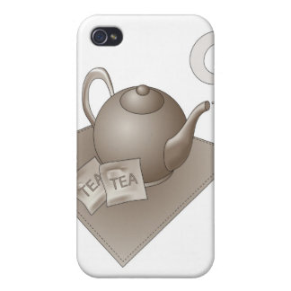 Brown teapot with abstract steam iPhone 4 cases