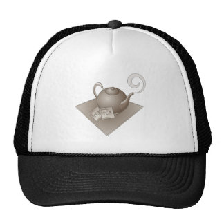 Brown teapot with teabags mesh hats