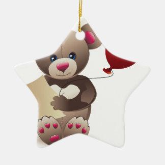 Brown Teddy Bear Ceramic Star Decoration