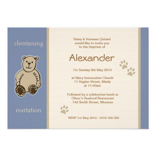 Brown Teddy Bear Christening Invitations