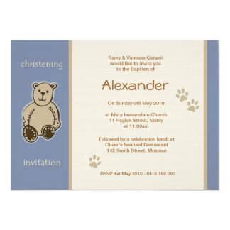Brown Teddy Bear Christening Invitations