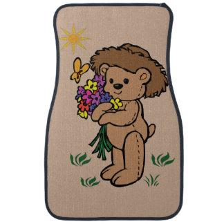 Brown Teddy Bear Holding Flowers Car Mat