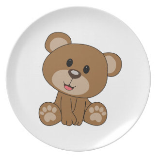 Brown Teddy Bear Plate