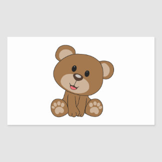 Brown Teddy Bear Rectangular Sticker