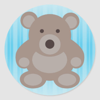 Brown Teddy Bear Round Sticker