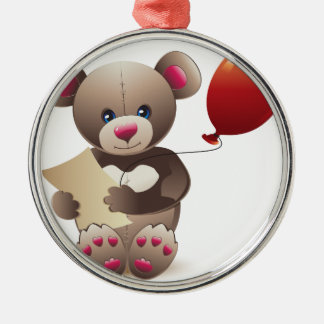 Brown Teddy Bear Silver-Colored Round Decoration