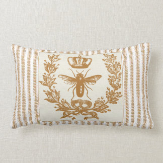 Brown Ticking Effect with Queen Bee and Crown Lumbar Cushion