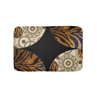 Brown Tiger Print Pattern Design Bath Mat