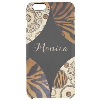 Brown Tiger Print Pattern Design Clear iPhone 6 Plus Case